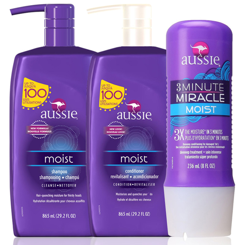 Kit Aussie Moist Shampoo e Condicionador 865ml + Aussie 3Minute